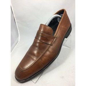 14th and Union mens Cognac Penny Loafers Italy